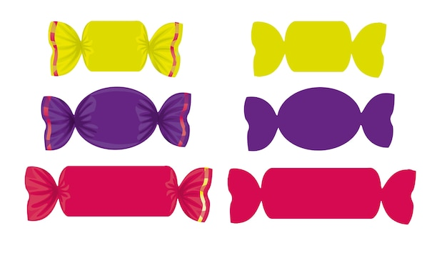 Satz farbige bonbons in den verschiedenen formen