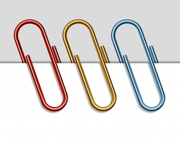 Satz farbige büroklammern. illustration