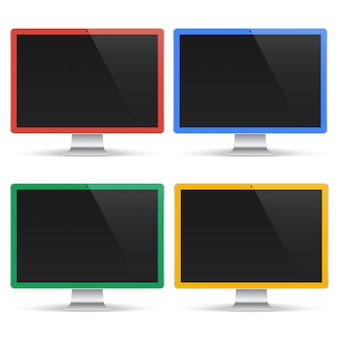Satz farbige computer mit schwarzem bildschirm lokalisiert auf weißem hintergrund. realistisches monitormodell