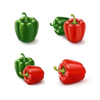 Satz farbige grüne und rote süße bulgarische paprika, paprika lokalisiert auf weiß