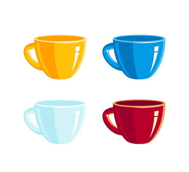 Satz farbige leere tassen im flachen stil