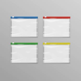 Satz farbige leere transparente kunststoff-reißverschlusstaschen