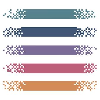 Satz farbige moderne pixelfahnen für titel