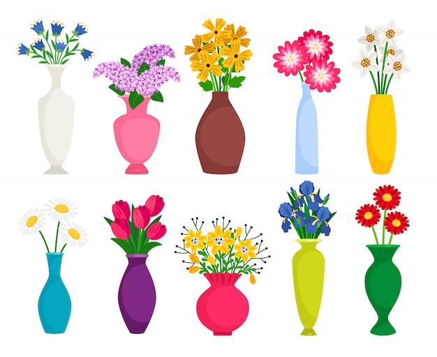 Satz farbige vasen mit blühenden blumen für dekoration und innenraum
