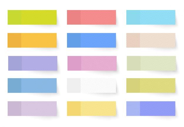 Satz farbige verschieden geformte aufkleber und fahnen realistischen stil. leere klebeblätter aus klebepapier zur kennzeichnung.