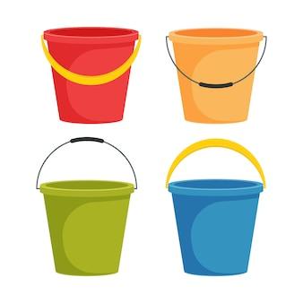 Satz farbige wassereimer