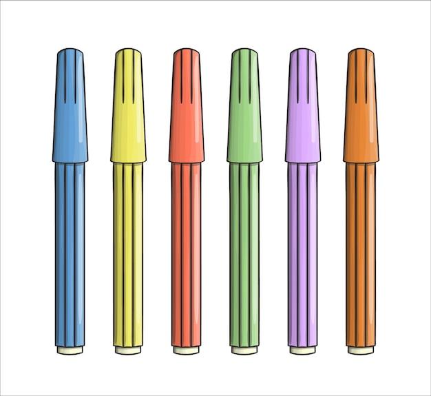 Satz farbiger filzstiftsymbole. vector farbiges briefpapier, schreibmaterialien, büro- oder schulbedarf lokalisiert auf weißem hintergrund. cartoon-stil