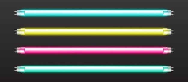 Satz farbiger neonröhrenlichter