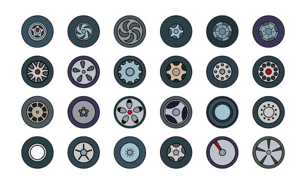 Satz farbiger symbole von reifen und rädern. flacher flacher stil. vektor-illustration.