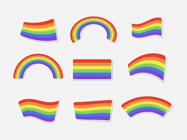 Satz farbregenbögen lokalisiert auf weißem hintergrund. aufkleberset zum drucken. lgbt-flagge. illustration.