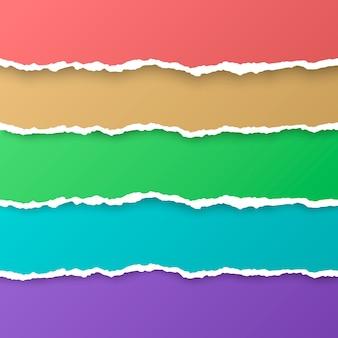 Satz farbregenbogen zerrissene papierstreifen