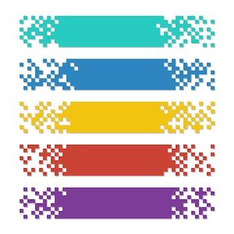 Satz farbzusammenfassungs-pixelnetzfahnen mit schatten für titel