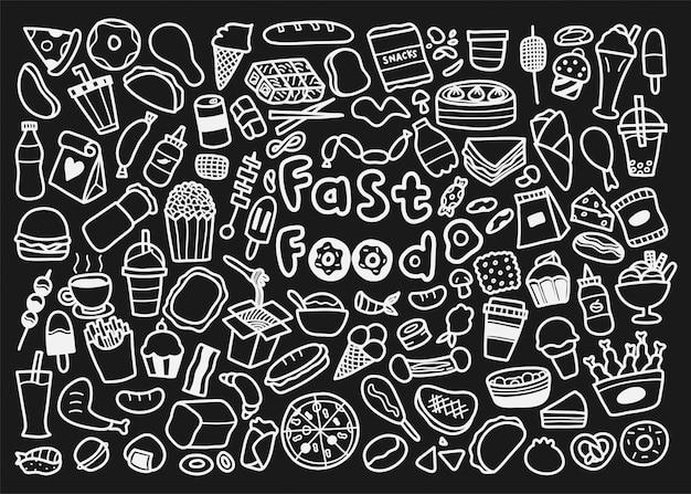 Satz fast-food-gekritzel