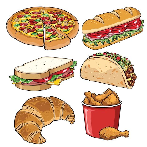 Satz fast-food-illustration