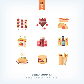 Satz fast-food-symbole auf weißem hintergrund