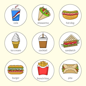 Satz fast-food-symbole. getränke, snacks und süßigkeiten.
