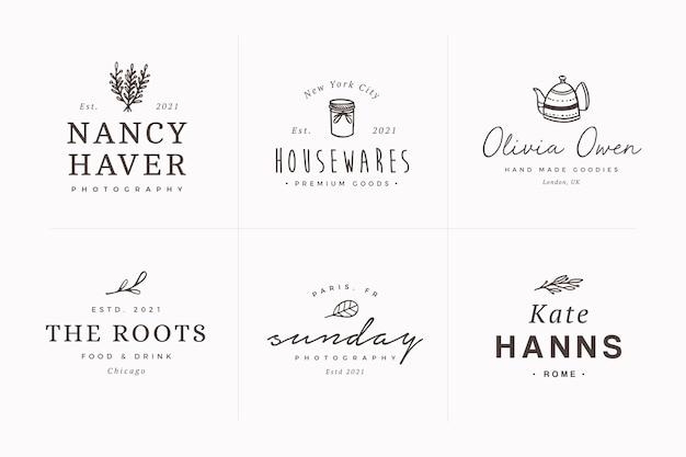 Satz feminine handgezeichnete botanische logo-designvorlagen