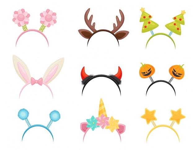 Satz festliche haarreifen. nettes kopfzubehör für feiertagsfeiern. attribute von kostümen