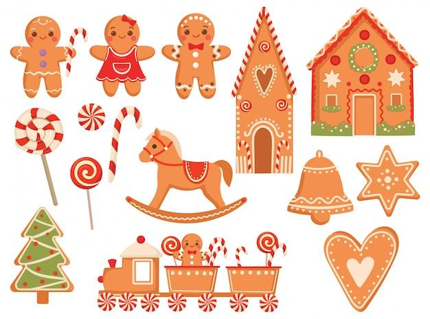 Satz festliche lebkuchenplätzchen. sammlung von weihnachtsleckereien. illustration.