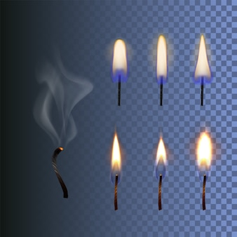 Satz feuer realistische kerzenflamme und verbrannter docht