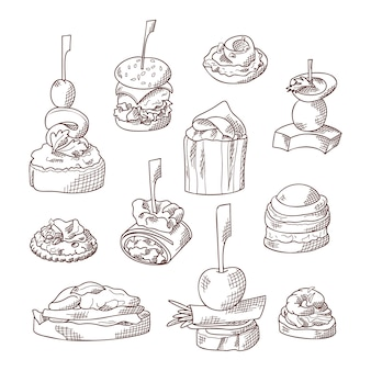 Satz fingerfood-elemente. canape und appetit serviert auf sticks im sketch-stil. catering-service-vorlage. illustration