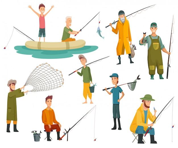 Satz fischer, die mit angelrute fischen. angelausrüstung, freizeit und hobby fangen fische. fischer mit fisch oder im boot, netz oder angelrute haltend.