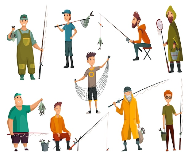 Satz fischer, die mit angelrute fischen. angelausrüstung, freizeit- und hobbyfischfang. fischer mit fisch, netz oder angelrute halten. vektor-illustration.