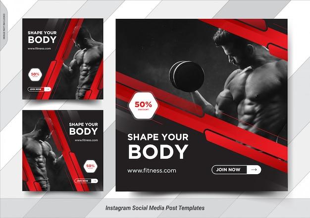 Satz fitness insta post social media post vorlagen design