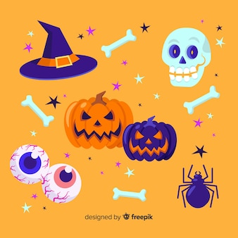 Satz flache art halloween-elemente