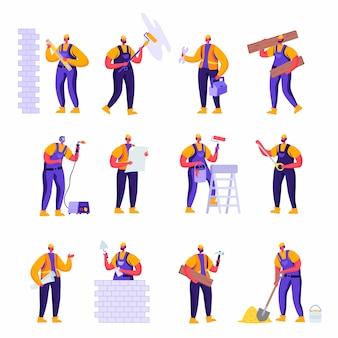 Satz flache berufsbauarbeiter-ingenieur-charaktere