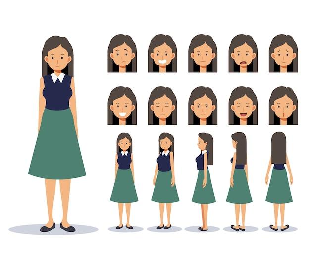 Satz flache charakterfrau tragen freizeitkleidung mit verschiedenen ansichten, karikaturart.