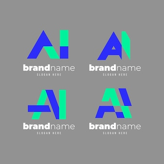 Satz flache design ai logo-vorlage