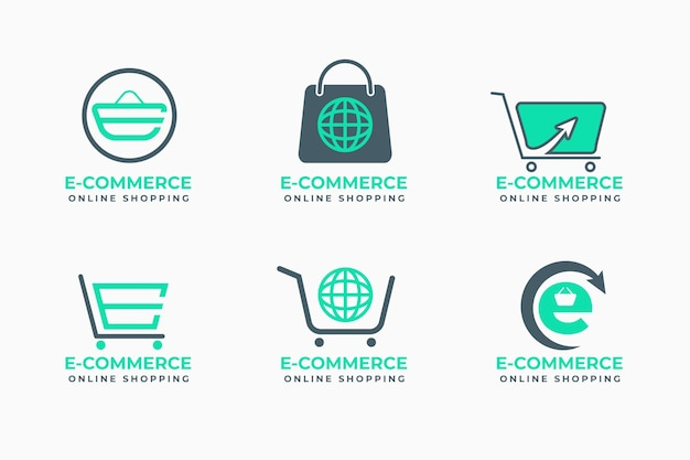 Satz flache design-e-commerce-logos