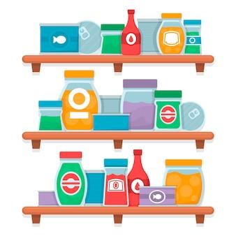 Satz flache design-speisekammer mit verschiedenen nahrungsmitteln