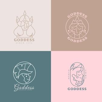 Satz flache designgöttin-logo-vorlagen
