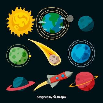 Satz flache designmilchstraßenplaneten