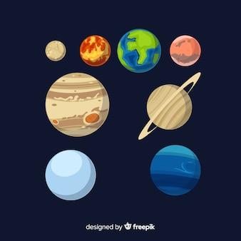 Satz flache designsonnensystemplaneten