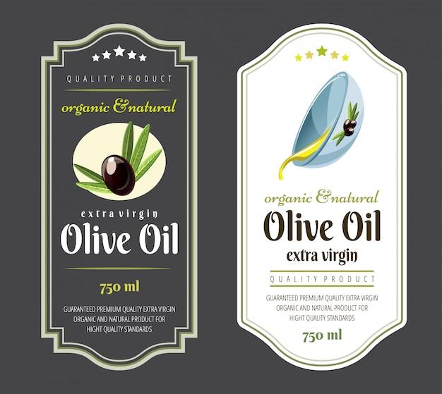 Satz flache etiketten und abzeichen von olivenöl. handgezeichnete vorlagen für olivenölverpackungen