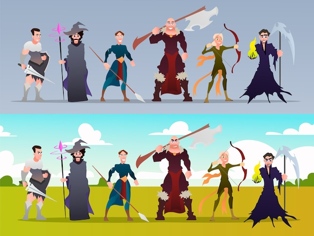 Satz flache fantasy-charaktere und videospielklassen