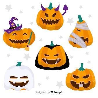 Satz flache halloween-kürbise