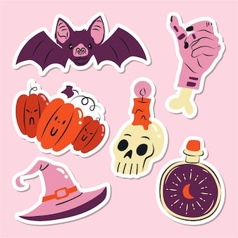 Satz flache handgezeichnete halloween-elemente