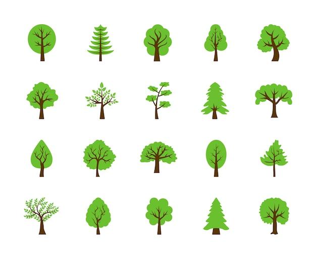 Satz flache ikonen der bäume