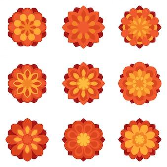 Satz flache ikonen der blumenblumen