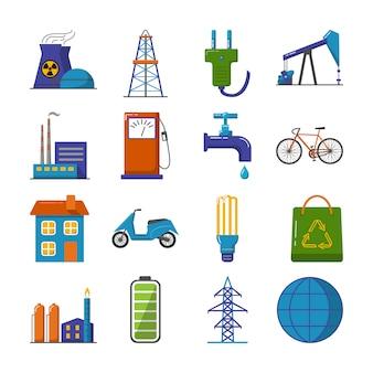 Satz flache ikonen der energie und der ökologie