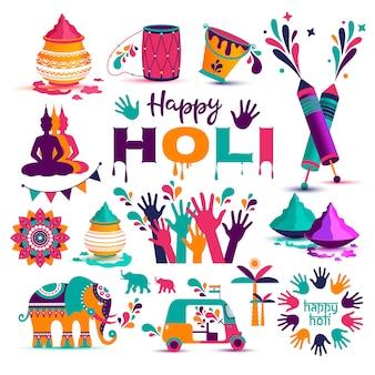 Satz flache ikonen von holi im indischen stil