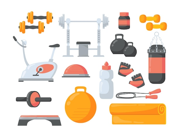 Satz flache illustration der karikatur-fitnessausrüstung.