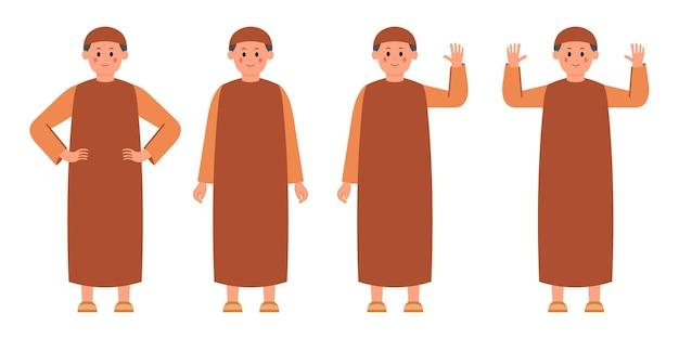 Satz flache illustration des muslimischen männlichen charakters