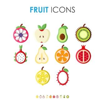 Satz flache illustration verschiedene fruchtikonen gesunde und organische natürliche nahrungsmittelmahlzeiten