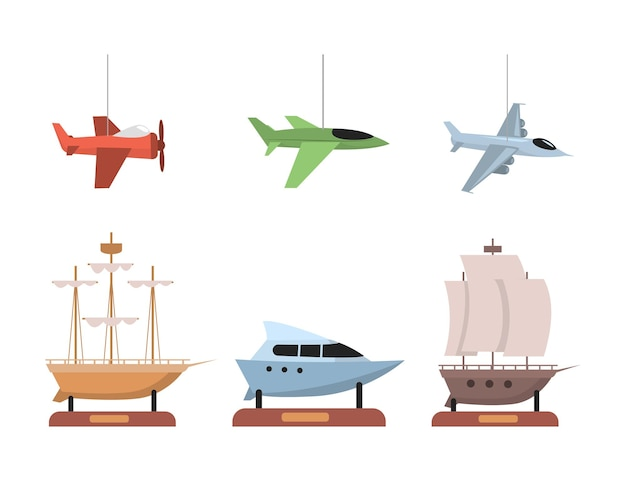 Satz flache illustration von flugzeugen und booten lokalisiert auf Premium Vektoren
