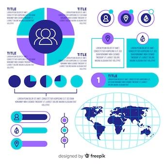 Satz flache infographic elemente